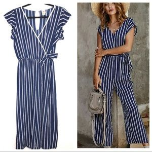 Wrapper Navy Blue & White Striped Jumpsuit Small